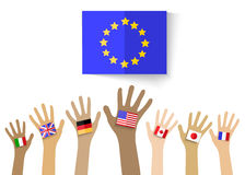 Collection of hands with national flags, isolated in white backg Stock Photos