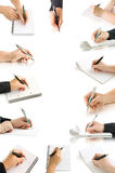 Collection hands with pen and writing on the page. And notebook isolated on white stock images