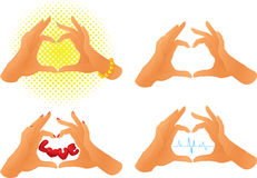 Collection of hands. Showing heart symbol Stock Images