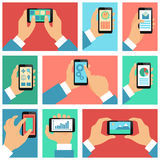 Collection of hands using mobile phone Stock Photography