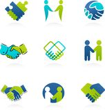 Collection of handshake icons and elements Stock Image