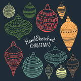 Collection of handsketched Christmas decorations Stock Images