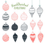 Collection of handsketched Christmas decorations Stock Photography