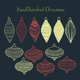 Collection of handsketched Christmas decorations Stock Photos