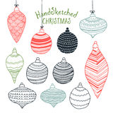 Collection of handsketched Christmas decorations Royalty Free Stock Photo