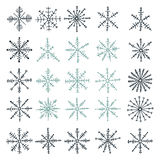 Collection of handsketched snowflakes Stock Image