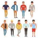 Collection of handsome men in stylish clothing. Casual wear. Male characters posing with smiling face expressions. Cartoon illustration isolated on white stock illustration