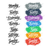 Collection of handwritten days of the week. Calligraphic elements for your design. Royalty Free Stock Photo