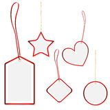 Collection of hanging price tags with red border Royalty Free Stock Photos
