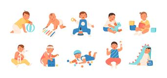 Collection of happy adorable babies playing with various toys - building kit, ball, rattle. Set of playful infant vector illustration