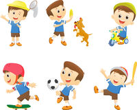 Collection of happy cartoon boy playing Stock Photography