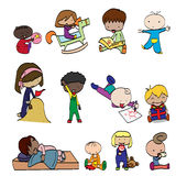 Collection of happy children. Characters funny kids on a white background Royalty Free Stock Photo