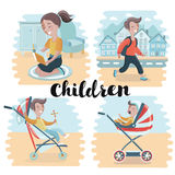 Collection of happy children in different positions. Vector illustration of set of happy children in different situations. Girls and boys reading, walking on Royalty Free Stock Photos