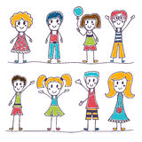 Collection of happy children. Hand drawn cute little kids Royalty Free Stock Photo