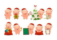 Collection of happy cute Christmas pig isolated vector stock illustration