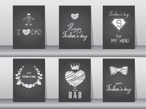 Collection of Happy Father's Day card on chalk board backgrounds,Vector illustrations. Collection of Happy Father's Day card on chalk board backgrounds Royalty Free Stock Photos