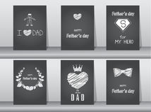 Collection of Happy Father`s Day card on chalk board backgrounds,Vector illustrations. Collection of Happy Father`s Day card on chalk board backgrounds Stock Images