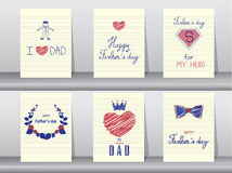 Collection of Happy Father's Day card on spiral notebook backgrounds,Vector illustrations. Collection of Happy Father's Day card on spiral notebook backgrounds Royalty Free Stock Photography