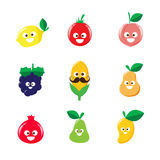 Collection of happy fruit cartoon icon vector illustration 002 Royalty Free Stock Photo