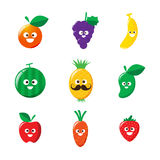 Collection of happy fruit cartoon icon vector illustration Royalty Free Stock Image