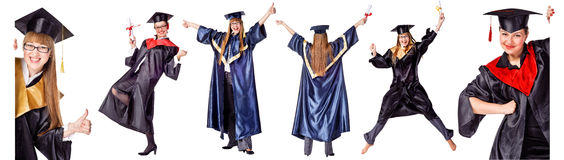 Collection - Happy Graduation Student. Royalty Free Stock Images