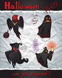 Collection Happy Halloween Cartoon Ghosts Royalty Free Stock Photography
