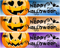 Collection Happy Halloween Horizontal Banners Stock Photos