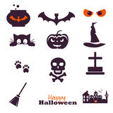 Collection of 12 Happy Halloween icons. Vector Stock Photography