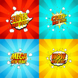 Collection of happy new year backdrops. Decorative set of comic backgrounds for happy new year with bomb explosive in pop art style. Vector illustration Stock Photo