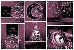 Collection of Happy New Year and Merry Christmas backgrounds. Silver and violet vector illustration