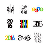 Collection of 2016 happy new year number text design Royalty Free Stock Images