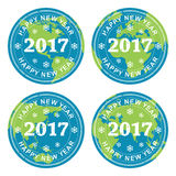 Collection of happy new year 2017 rubber stamps on earth, vector. Collection of happy new year 2017 rubber stamps on earth globes, all over the world Stock Images