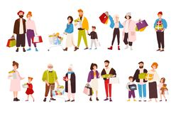 Collection of happy people carrying their purchases. Set of smiling flat cartoon characters of different age with. Shopping bags. Men, women and children with Stock Photo