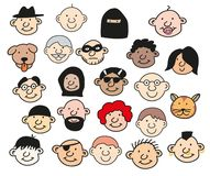 Collection of happy people heads isolated vector illustration. Smiling men and women of different nationalities, age and trade. Multicultural society concept Royalty Free Stock Image