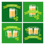 Collection of Happy St Patricks day green cards. Royalty Free Stock Photo