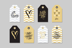 Collection of Happy Valentines day gift tags. Set of hand drawn holiday label in black, gold, white and grey. Royalty Free Stock Photography