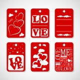 Collection of Happy Valentines day gift tags. Set of hand drawn holiday label in white and red. Romantic badge design. Illustration of Collection of Happy royalty free illustration