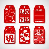 Collection of Happy Valentines day gift tags. Set of hand drawn holiday label in white and red. Romantic badge design. Illustration of Collection of Happy stock illustration
