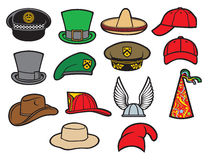 Collection of hats. Gaelic helmet with wings, military beret, firefighter helmet, saint patricks day leprechaun hat, cowboy hat party hat, birthday hat, baseball Stock Photography