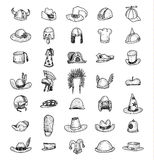 Collection of Hats, Hand Drawn. Royalty Free Stock Image