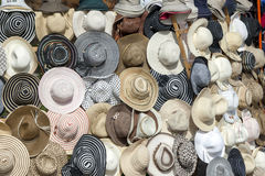 A collection of hats for sale at a market in Luxor, Egypt. Royalty Free Stock Photos