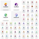 Collection of Head intelligence logo designs concept vector, Head Tech, Colorful Mind, Nature Head, Head Heal, Heat gear, head lov. E, Hexagone head, Head hand royalty free illustration