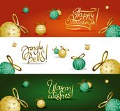 Collection of headers with xmas tree decoration. Collection of three headers, green, red and white, with green and yellow christmas tree decorations with golden Stock Photo