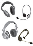 Collection of headphones Royalty Free Stock Images