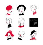 Collection of heads or faces of stylish lady with elegant hairstyles wearing various hats and earrings. Set of stylized stock illustration