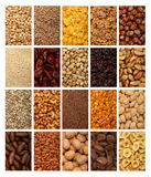 Collection of healthy dried fruits, cereals, seeds and nuts isolated on white background Stock Images