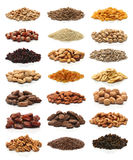 Collection of healthy dried fruits, cereals, seeds and nuts Royalty Free Stock Photos