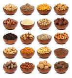Collection of healthy dried fruits, cereals, seeds and nuts. On white background. Large Image royalty free stock photos