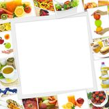 Collection of healthy food photos royalty free stock image