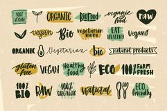 Collection of healthy organic food and natural vegan and vegetarian eco products lettering handwritten with calligraphic Royalty Free Stock Images